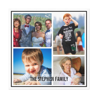 Fix Border Custom Family Photo Collage Stretched Canvas Prints