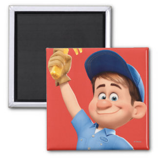 Fix-It Jr Holding Hammer in the Air 2 Inch Square Magnet