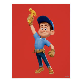 Fix-It Jr Holding Hammer in the Air Poster