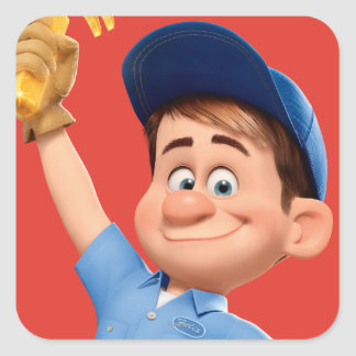 Fix-It Jr Holding Hammer in the Air Square Sticker