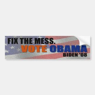 Fix the Mess Vote Obama Biden Bumper Sticker