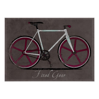 Fixed Gear White Bicycle Poster