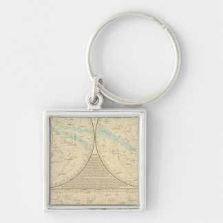Fixed Stars map Silver-Colored Square Keychain