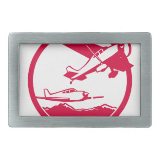 Fixed Wing Aircraft Taking Off Circle Retro Rectangular Belt Buckle