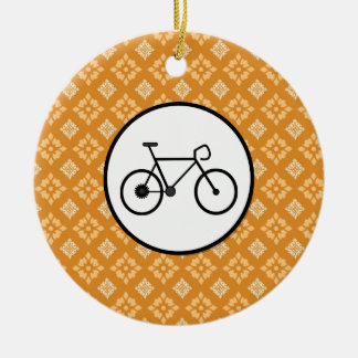 Fixie Bike Fixed Gear Bicycle on Orange Pattern Ceramic Ornament