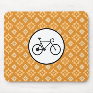 Fixie Bike Fixed Gear Bicycle on Orange Pattern Mouse Pad