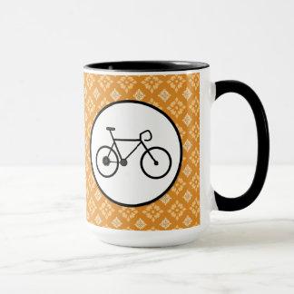 Fixie Bike Fixed Gear Bicycle on Orange Pattern Mug