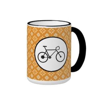 Fixie Bike Fixed Gear Bicycle on Orange Pattern Coffee Mugs