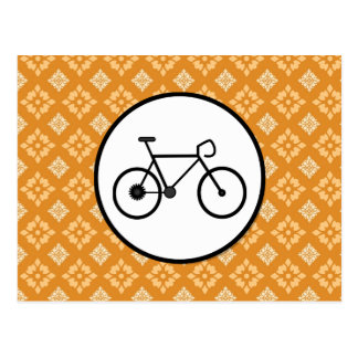 Fixie Bike Fixed Gear Bicycle on Orange Pattern Postcard