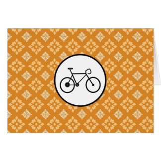 Fixie Bike Fixed Gear Bicycle on Orange Pattern Stationery Note Card