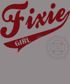 Fixie Girl, Bike design red/white Tee Shirt