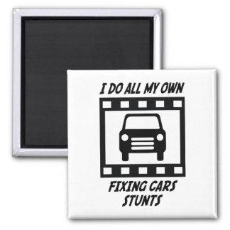 Fixing Cars Stunts 2 Inch Square Magnet