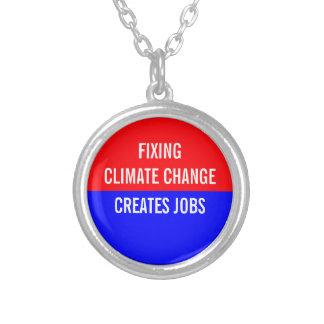 Fixing Climate Change Creates Jobs Round Pendant Necklace
