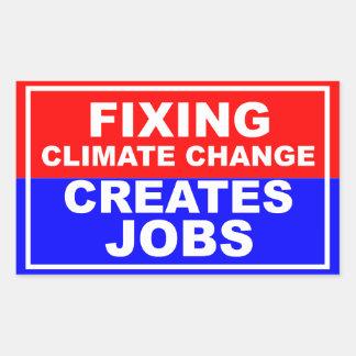 Fixing Climate Change Creates Jobs Rectangular Stickers
