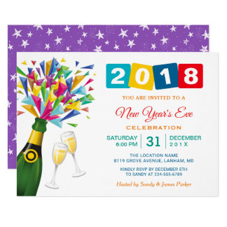 Fizzy Pop Cheers to 2018 New Year's Eve Party Card