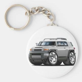 Fj Cruiser Silver Car Basic Round Button Keychain