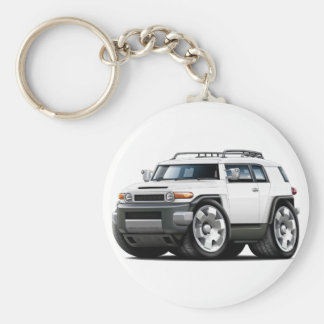 Fj Cruiser White Car Basic Round Button Keychain