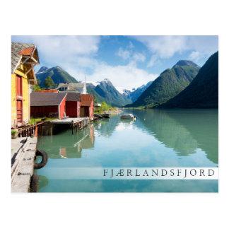 Fjaerlandsfjord fjord landscape in Norway Postcard