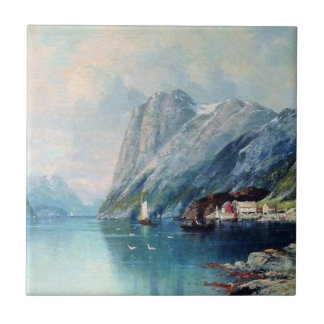 Fjord in Norway - Lev Lagorio artwork Ceramic Tile