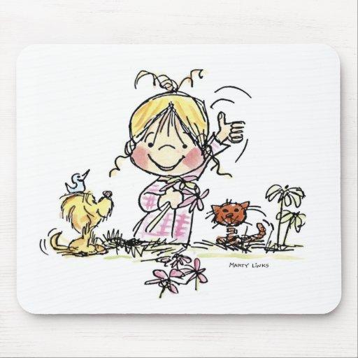 FL-001 Girl Waving Mouse Mat
