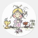 FL-001 Girl Waving Round Stickers