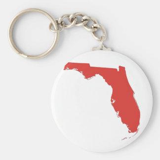 FL a RED State Basic Round Button Keychain