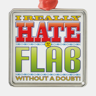 Flab Hate Face Silver-Colored Square Decoration