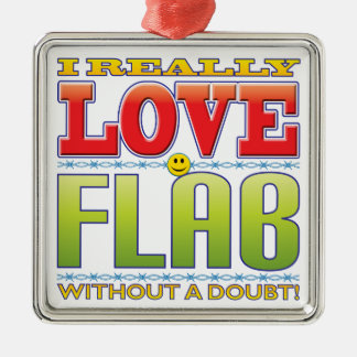 Flab Love Face Silver-Colored Square Decoration