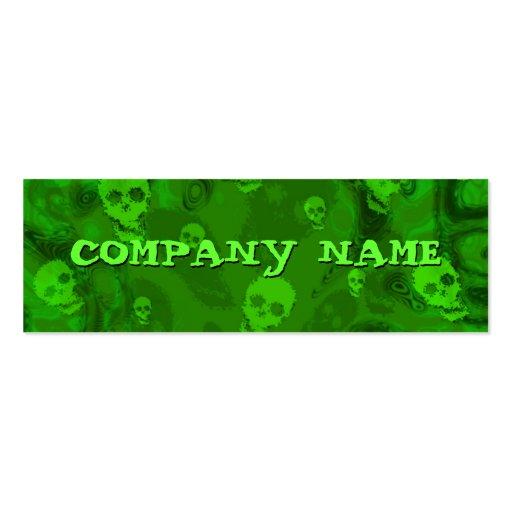 Flaco verde horizontal de los espectros del cráneo tarjetas de visita mini