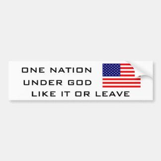 FLAG2, UNA NACIÓN, DEBAJO DE DIOS, COMO ÉL O LICEN PEGATINA DE PARACHOQUE