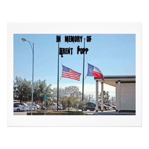 """Flag 027, In memory ofBrent Popp 8.5"""" X 11"""" Flyer"""