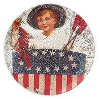 Flag 4th of July Boy Vintage Postcard Art Decorate Dinner Plates