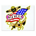 "Flag Anchor Tattoo 4.25"" X 5.5"" Invitation Card"
