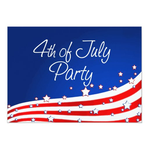 Flag and Background 4th of July Party 5x7 Paper Invitation Card