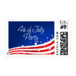 Flag and Background 4th of July Party Stamp