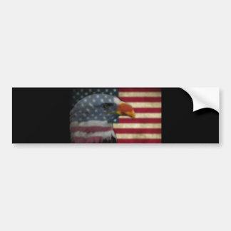 Flag and Bald Eagle Bumper Sticker