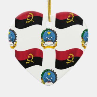 Flag and Crest of Angola Ceramic Ornament