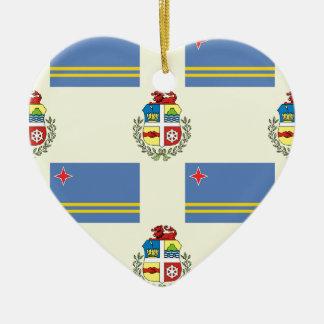 Flag and Crest of Aruba Christmas Tree Ornaments