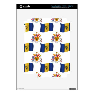 Flag and Crest of Barbados Decals For iPad 3