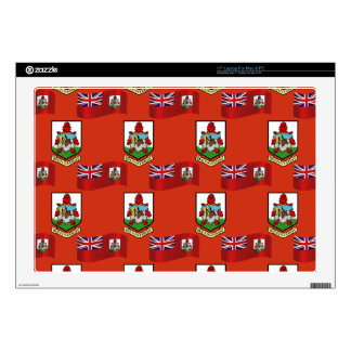 """Flag and Crest of Bermuda 17"""" Laptop Decals"""