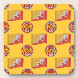 Flag and Crest of Bhutan Drink Coaster