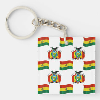 Flag and Crest of Bolivia Keychain
