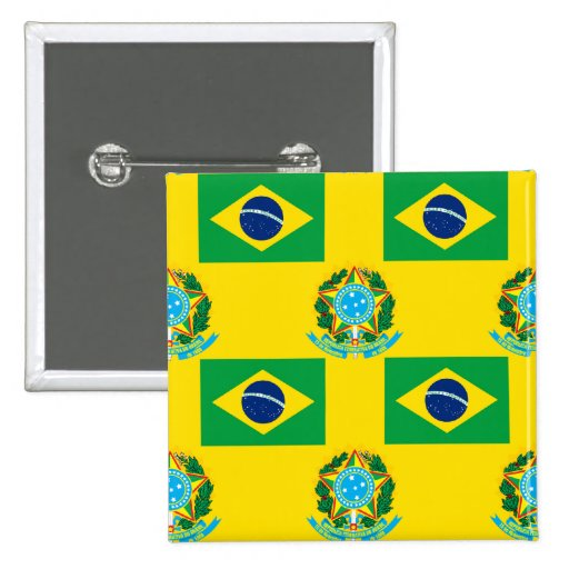 Flag and Crest of Brazil Pinback Button
