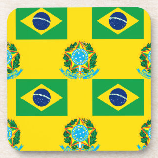 Flag and Crest of Brazil Coaster