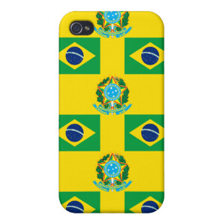 Flag and Crest of Brazil Cover For iPhone 4