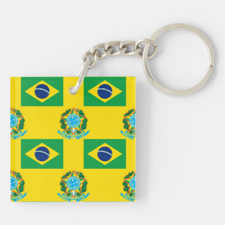 Flag and Crest of Brazil Double-Sided Square Acrylic Keychain