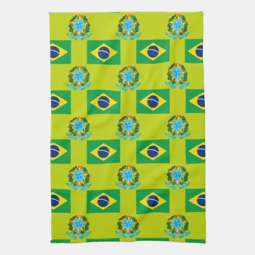 Flag and Crest of Brazil Hand Towels