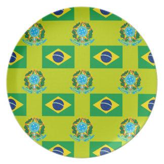 Flag and Crest of Brazil Melamine Plate