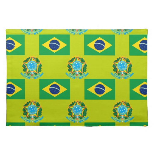 Flag and Crest of Brazil Placemat