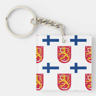 Flag and Crest of Finland Keychain